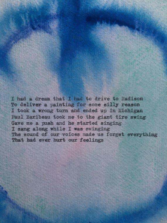 Kimya Dawson Tire Swing Typewriter Lyrics On Watercolour Painting