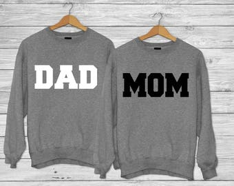 5125be9c MOM and DAD - Crew neck sweater / Couples shirts / Couple shirts/ Best  friend shirt/ Group shirts/ couples sweaters
