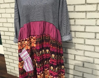 The Violet Upcycled Tunic:  Plus size XL-1X, Wearable art, boho, eco friendly, sustainable clothing  OOAK, handmade by Melbury Road