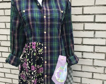 The Lola Upcycled Tunic/Jacket: Wearable art, size L-XL, funky, original, eco friendly, sustainable clothing, handmade,  Melbury Road