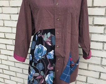The Maya Upcycled Tunic/Jacket: Wearable art, plus size 2X,  funky, original, eco friendly, sustainable clothing, handmade,  Melbury Road