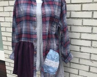 The Aria Upcycled Tunic/Jacket: Wearable art, plus size 1X, funky, original, eco friendly, sustainable clothing, handmade,  Melbury Road