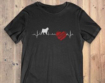Pug Dog T-Shirt Gift: Pug Heartbeat