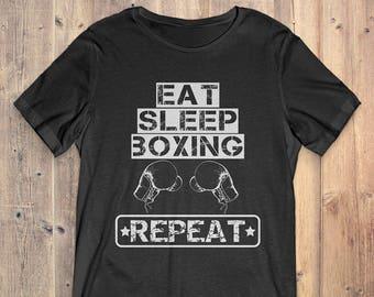 Boxing T-Shirt Gift: Eat Sleep Boxing Repeat