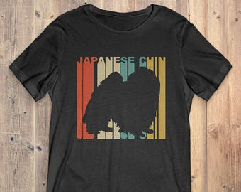 Japanese Chin Dog T-Shirt Gift: Vintage Style Japanese Chin Silhouette