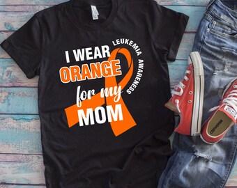 bbd1e7ee4a Buy 2+ Get 30% OFF Leukemia Awareness T-shirt, I Wear Orange For My Mom, Orange  Ribbon, Tank Top Hoodie Long Sleeve Youth