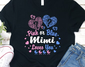 a4314912439f0 Buy 2+ Get 30% OFF Mimi T-shirt, Pink Or Blue Mimi Loves You, Grandma  Shirt, Gender Reveal Party, Pregnancy Announcement, Baby Shower Gift