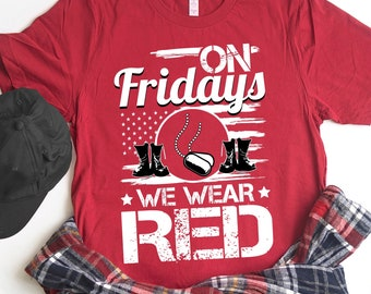 5761369f Buy 2+ Get 30% OFF On Friday We Wear Red, Red Friday Shirt, Patriotic  Military Solider, Boots, Dog Tag, American Flag