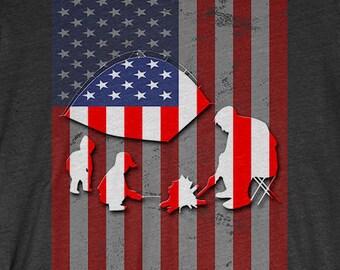 Camping T-Shirt Gift: American Flag