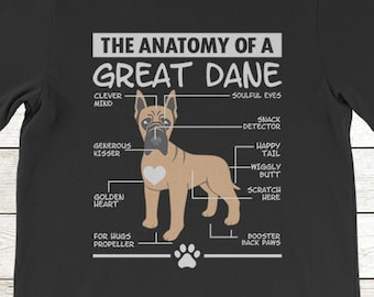 09ed1c8d Buy 2+ Get 30% OFF Great Dane T-Shirt Funny Tee For Dog Lover: The Anatomy  Of A Great Dane