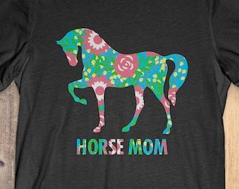 Flower Horse T-Shirt Funny Gift: Horse Mom
