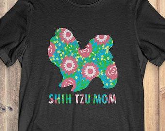 Flower Shih Tzu T-Shirt Funny Gift: Shih Tzu Mom