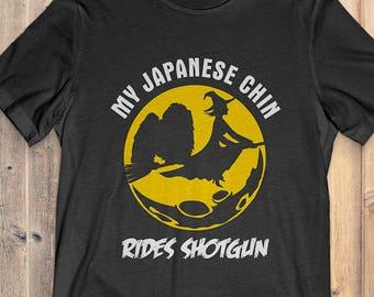 Japanese Chin Custom Dog Halloween T-shirt: My Japanese Chin Rides Shotgun