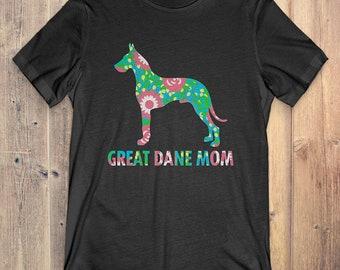 199734390 Buy 2+ Get 30% OFF Flower Great Dane T-Shirt Funny Gift For Dog Lover: Great  Dane Mom