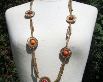 Necklace ethnic kraft nature collection