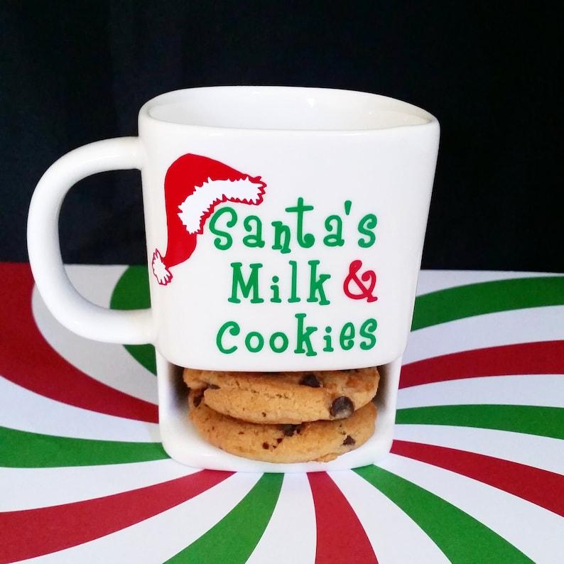 Santa S Milk And Cookies Cup Santa Cup Christmas Mug Cookie Mug Santa S Cookies And Milk