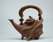 "Hand built ceramic teapot ""Typhoon"", Sculptural pottery teaset, Unique artisan kitchenware, MADE TO ORDER"