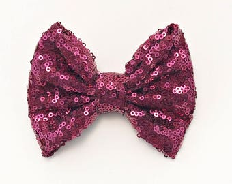 Maroon sequin bow
