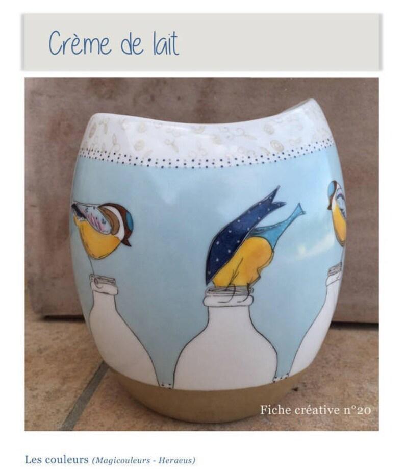 Crème de lait  Fiche créative peinture sur porcelaine image 0
