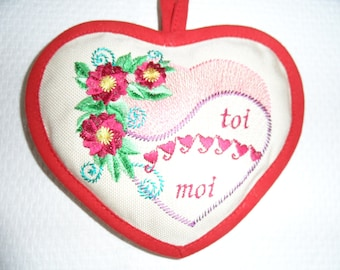 Valentine's heart decorative hanging embroidery with a heart