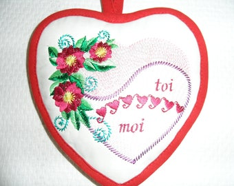 Valentine heart decorative embroidered heart has hanging