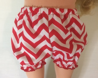 """Red and White Chevron bloomers/underwear for 18"""" Doll"""