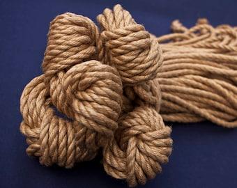 5 x Natural Japanese 6mm/8m jute rope for kinbaku and shibari.