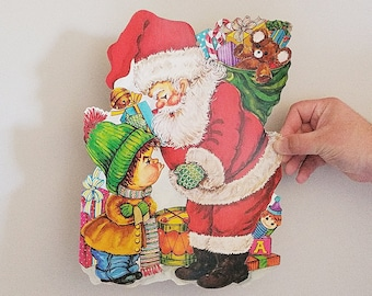 vintage 1980s christmas santa claus child paper cutout holiday xmas naughty toys retro hipster eclectic kitsch decorations - 1980s Christmas Decorations