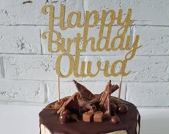 Birthday cake topper. Happy birthday cake topper. Custom cake topper. Name cake topper. Personalized cake topper. Birthday decorations.