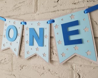 High Chair Banner Boy FIRST Birthday Decorations One First My Party Pixie