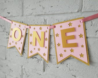 One highchair banner. First birthday girl // Twinkle twinkle little star first birthday decorations girl. One banner.
