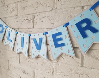 Name banner // 1st BIRTHDAY BOY. Birthday banner personalized. 1st birthday banner boy. Birthday boy. Baby shower. Blue. Baby boy.