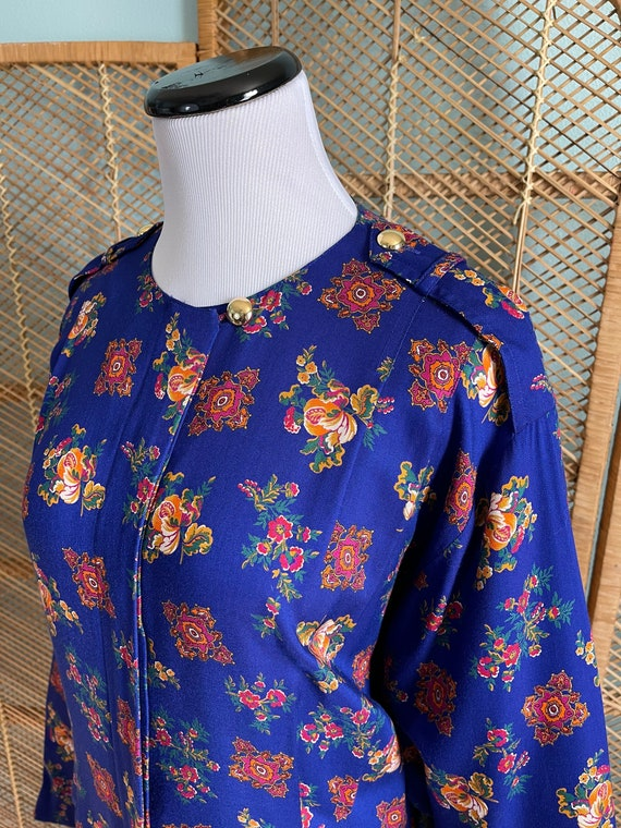 Volup 1990's Liz Claiborne blue floral wiggle dre… - image 8