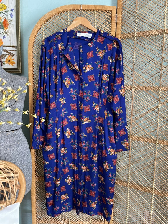 Volup 1990's Liz Claiborne blue floral wiggle dre… - image 3