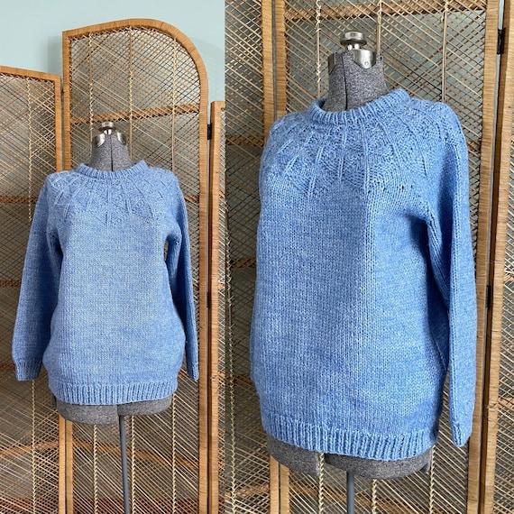 Vintage hand knit blue textured sweater | fair isl