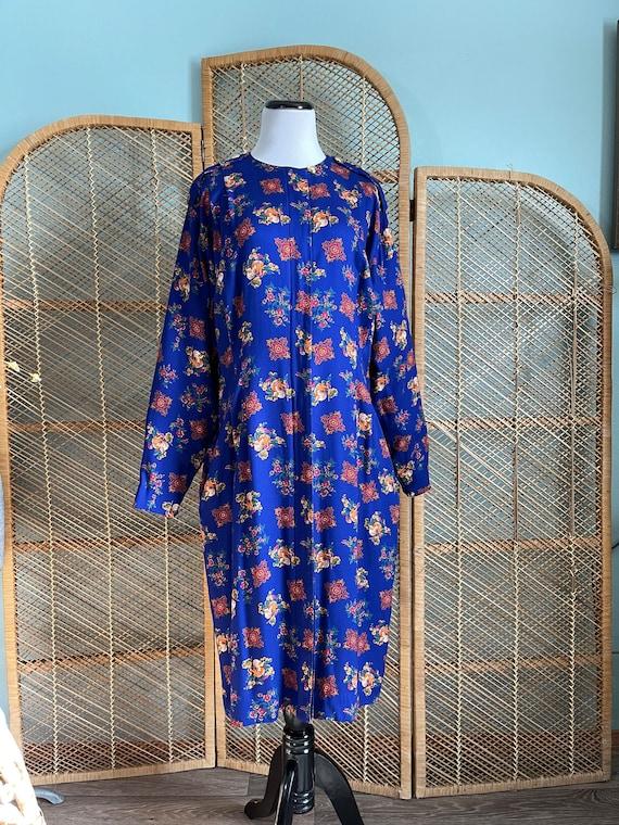 Volup 1990's Liz Claiborne blue floral wiggle dre… - image 2
