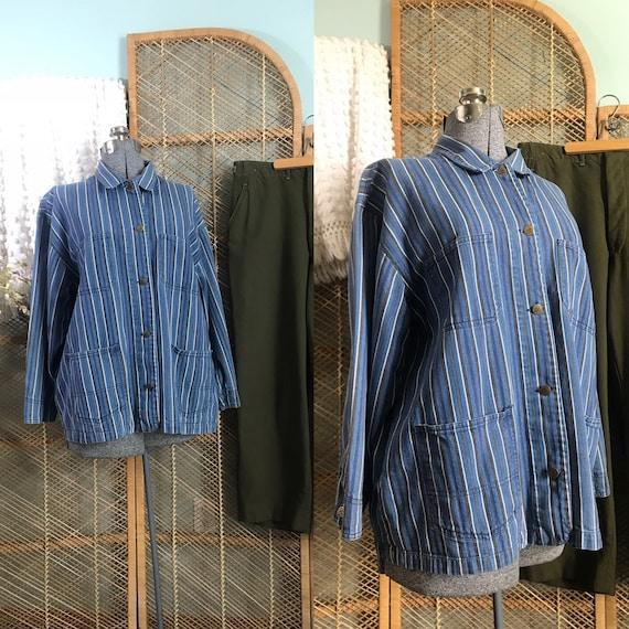 1990's striped denim workwear jacket, barn coat, c