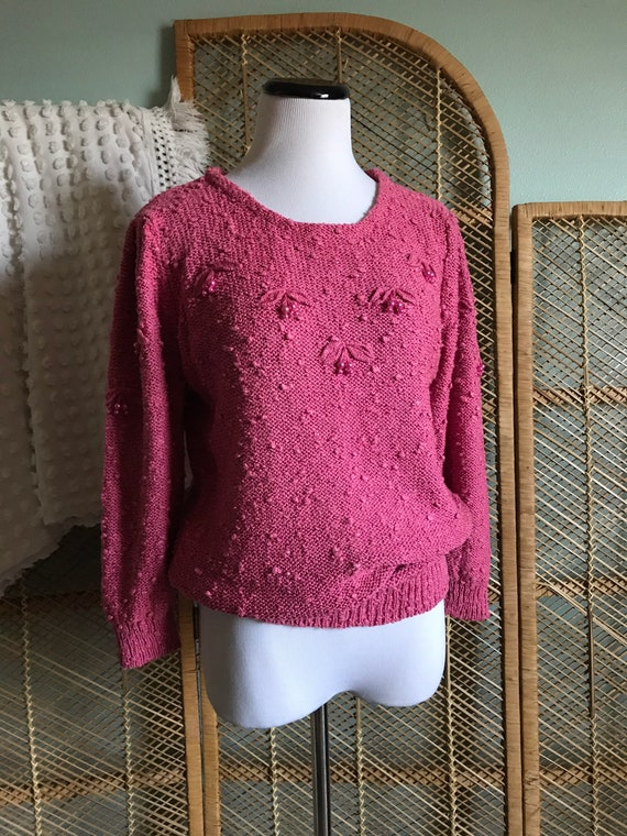vintage soft pink hand knit nubby silk sweater top 80s