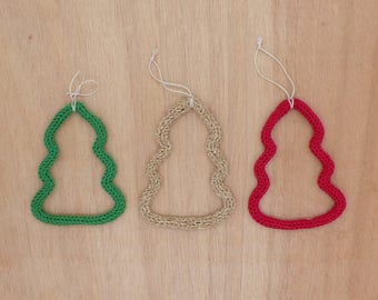 Set of 3 trees French knitting hanging / Christmas tree Decoration