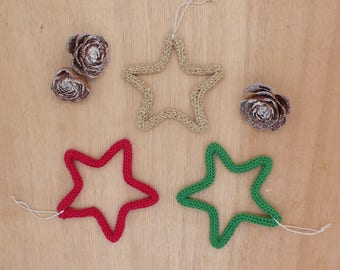 Set of 3 stars tricotin hanging / Christmas tree Decoration