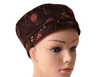 Beret in Velvet milleraies Brown Embroidered in Rhinestones