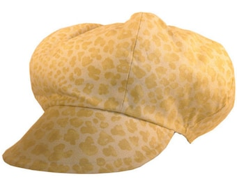 Gavroche Cap  Yellow Velvet Yellow
