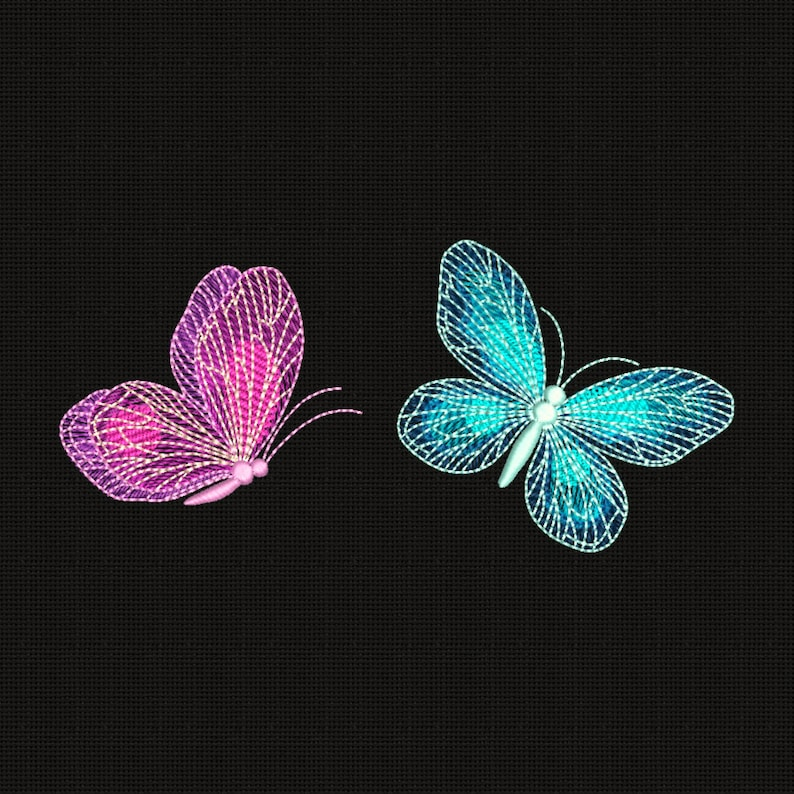 Butterflies Embroidery Design Flowers Embroidery Designs