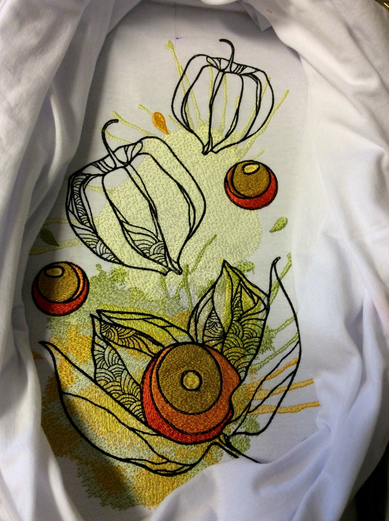 Floral Physalis machine design INSTANT DOWNLOAD Embroidery Design Watercolor Physalis 8x13 in Flower embroidery designs Physalis