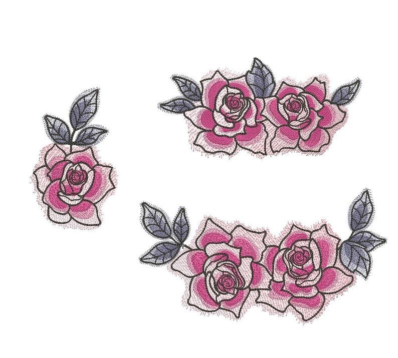 Dessins De Broderie Couleurs De Rose De Fleurs Blanches Etsy
