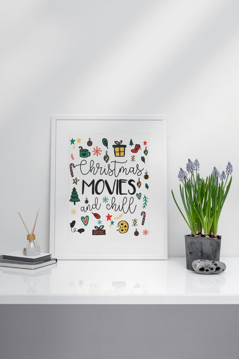 Christmas Print Christmas Movies and Chill Secret Santa image 0