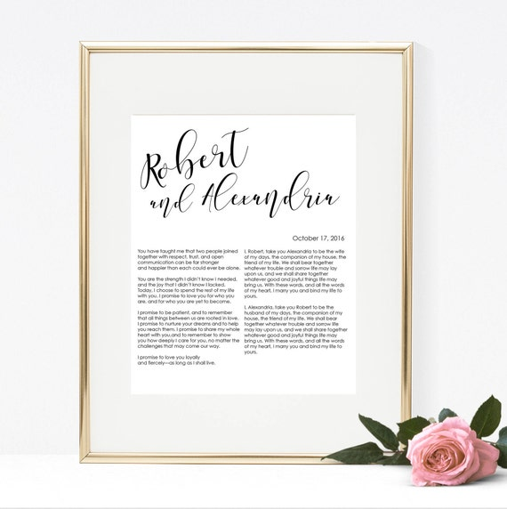 Wedding Vow Gifts: Custom Printable Wedding Vows Anniversary Gift
