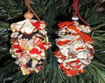 "Set of 2 Christmas Decorations: ""Pinecone"" kimono silk No.1"