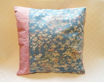 "Kimono Silk Pillow cover ""sky blue and pink 1"""
