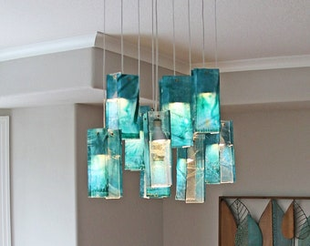 Large Glass Pendant Light for Dine Lighting and Home Décor. Dining Room Lights, Ceiling Lamp, fully Customizable. Art Glass Light Fixture